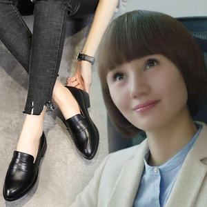 唐晶同款真皮黑色韓版樂福鞋平底小皮鞋加絨豆豆鞋百搭OL工作鞋