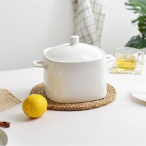 唐山无铅纯白骨瓷10英寸方形韩式品锅陶瓷器餐具套装汤锅大汤碗