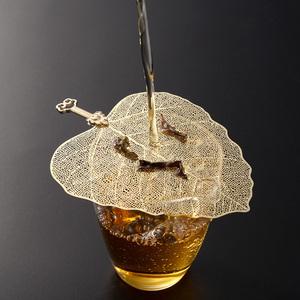 纯铜菩提叶茶漏茶具配件功夫茶滤个性创意树叶茶过滤网漏斗套装