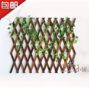 戶外防腐木柵欄伸縮實木籬笆爬藤架花園圍欄護欄墻面裝飾網格花架