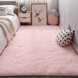 長毛粉色ins地毯臥室床邊滿鋪可愛公主房間網紅少女主播拍照地墊