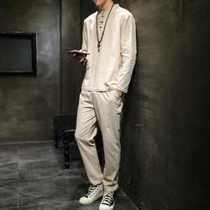 2019秋季男士长袖套装棉麻中国风男套装大码 钱塘2026-TZ8006-P50