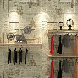 报纸壁纸英文字母复古怀旧时尚店铺装修理发服装店书房旧报纸墙纸