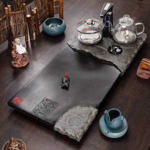 石福記 烏金石茶盤家用石茶臺帶電熱爐燒水石托盤排水整塊石茶海