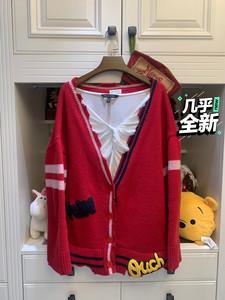 學院風大紅色毛衣開衫 韓國貨 比較寬松的款 配個卡通白T或者