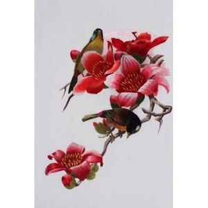 蘇繡DIY套件針迹掃描木棉花鳥比翼雙飛自學手工刺繡圖案送教程
