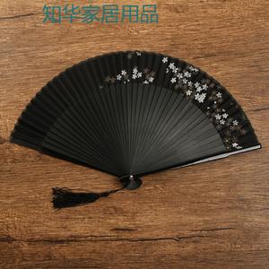 扇子折扇中国风复古风精致镂空檀香竹装饰小夏季随身迷你林扇 经