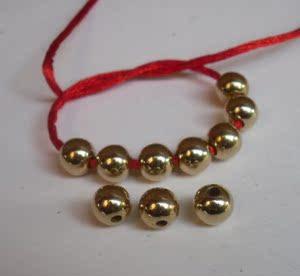 黃銅球珠子,黃銅串孔珠子,銅球串珠,項鏈銅珠子,手鏈銅珠配件