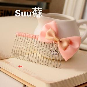 90 27人付款  淘宝 韩国手工小发梳 粉色 盘发插梳 精品刘海梳发饰图片
