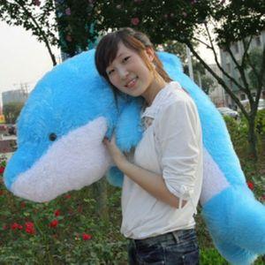 海豚抱枕 海豚公仔 长毛海豚娃娃 特大号毛绒玩具靠垫 情人节礼物