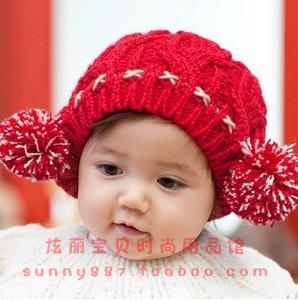 秋冬新款韩版儿童针织麻花帽子 儿童双球帽子 宝宝帽子 毛线帽