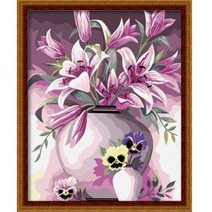 diy数字油画手绘手工填色客厅餐厅花卉花瓶装饰画 40*