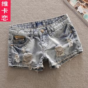 维卡恋夏季网红牛仔短裤女韩版潮热裤显瘦直筒破洞女装牛仔裤大码
