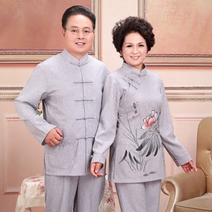 新品 棉麻 情侣唐装男长袖2501-2亚麻中老年人服装秋装女中国风套
