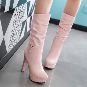 时尚性感防水台超高跟中筒靴粗跟冬季女鞋靴子2016新款春秋季单靴