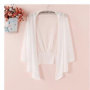 專柜小披肩夏季網紗小外套女純色超薄款坎肩短款修身外搭防曬開衫