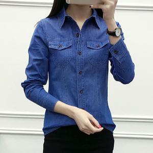 夏季新款长袖衬衫女韩版薄款水洗牛仔外套中学生显瘦休闲上衣潮