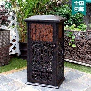 精欧户外 别墅庭院铸铝防腐垃圾桶 公园景观景区街道咖啡店垃圾箱