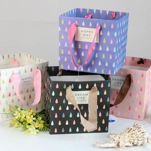 巨門新品水滴橫式寬底手提清新精美彩色節日包裝禮品紙袋滿95包郵