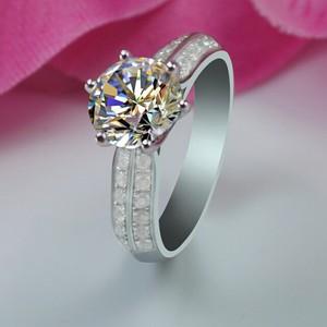 星光六爪仿真钻戒群镶双排碎钻 高防真钻石纯银镀铂金戒指女款