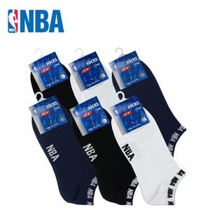 包邮NBA男浅口隐形纯薄棉运动船袜休闲男人袜子6双装无骨缝合