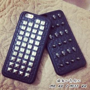 潮酷鉚釘骷髅7plus全包軟殼iphone5S黑色手機殼蘋果6plus保護套6s