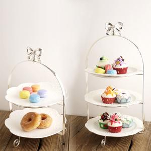 日單 創意糕點下午茶托盤 歐式銀色三層架水果盤 點心盤 糕點盤