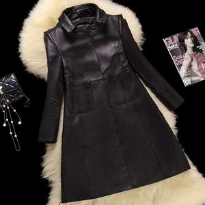 春款海寧真皮皮衣女中長七分袖直筒綿羊皮風衣大碼外套116110001圖片