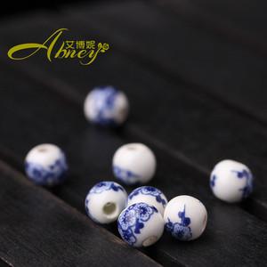发泡大孔圆珠水泥散陶瓷彩绘陶瓷珠diy中国结饰品珠子6mm手链印花器图片