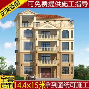 欧式五层别墅图纸农村自建房设计图建筑施工图四层半房屋方案效果