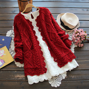 2019春裝新款日系森女甜美氣質鏤空麻花邊純色針織衫開衫女外套