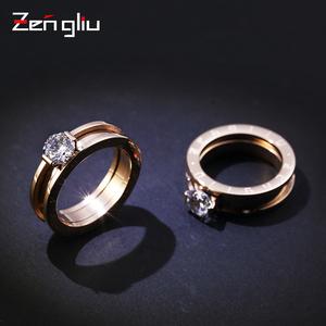 食指戒指女日韩潮人时尚韩国镀玫瑰金戒指镶人造锆石对戒指环饰品