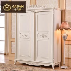 法式推拉门衣柜欧式卧室趟门移动式小户型实木衣橱1.4 1.6 米
