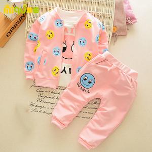 纯棉女童装女宝宝春秋装秋季婴儿幼儿童1衣服2小童3小孩套装4周岁