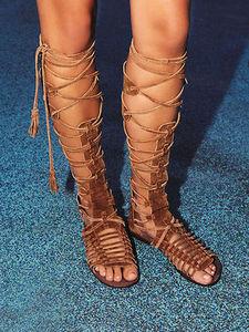 歐美夏季復古真皮流蘇綁帶后拉鏈翻毛皮平底羅馬角斗士涼鞋子