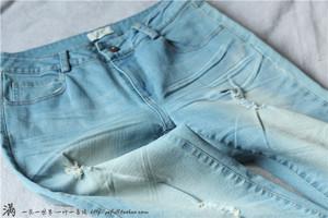 【转卖】小满家 初~  破洞牛仔裤女铅笔裤 做旧不均 中高腰70