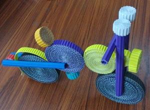 小学生手工_废物利用环保自制儿童手工瓦楞纸diy自行车幼儿手成制作成品