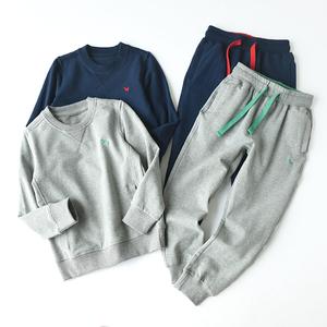 斷碼清倉兒童純棉圓領運動套裝套頭男童女童中大童衛衣衛褲兩件裝