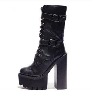 冬季2019新款粗跟前系带防水台高筒靴马丁女靴侧拉链超高跟中筒靴