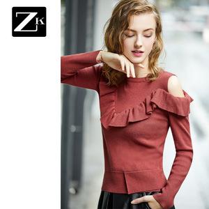 ZK2019春装新款露肩个性荷叶边针织打底衫套头毛衣百搭修身线衣