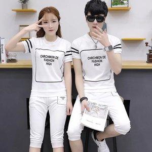 情侣运动套装夏装2019新款男时尚韩版修身T恤长裤休闲两件套女潮