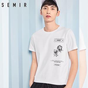 森马短袖t恤男2018夏装新款男士白色圆领印花上衣青年半袖衫男装图片