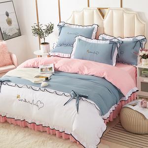 小清新床上四件套ins純棉全棉簡約北歐唯美夏天少女心公主風床裙