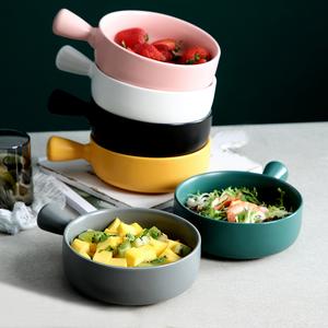北歐烘培盤帶手柄烤箱專用陶瓷盤子創意早餐焗飯盤水果沙拉盤家用