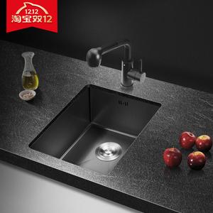 厨房纳米洗菜盆黑色吧台水槽不锈钢单槽小水池手工洗菜池洗碗池下