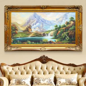 风景油画欧式客厅背景墙装饰画招财聚宝盆风水山水画 小螃蟹