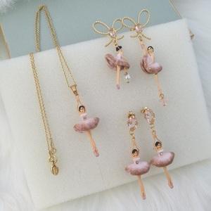 法国设计师 渐变橡皮粉色腰间点钻芭蕾舞者項鏈蝴蝶結耳環耳釘夾