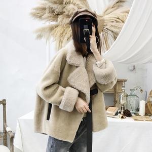 澳洲進口羊剪絨大衣女2019冬季短款皮毛一體顆粒羊毛海寧皮草外套