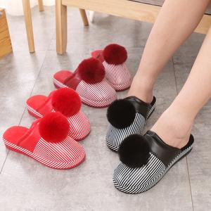 棉拖鞋女秋冬季室内外居家居兔毛球皮面防水厚底高跟防滑新款时尚