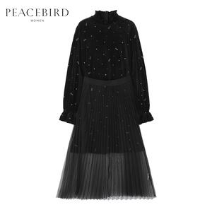 【商場同款】太平鳥女裝2019冬裝新款黑色絲絨連衣裙女 A1FA94662
